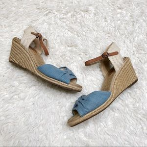 Lucky brand espadrille sandals wedges denim size 8